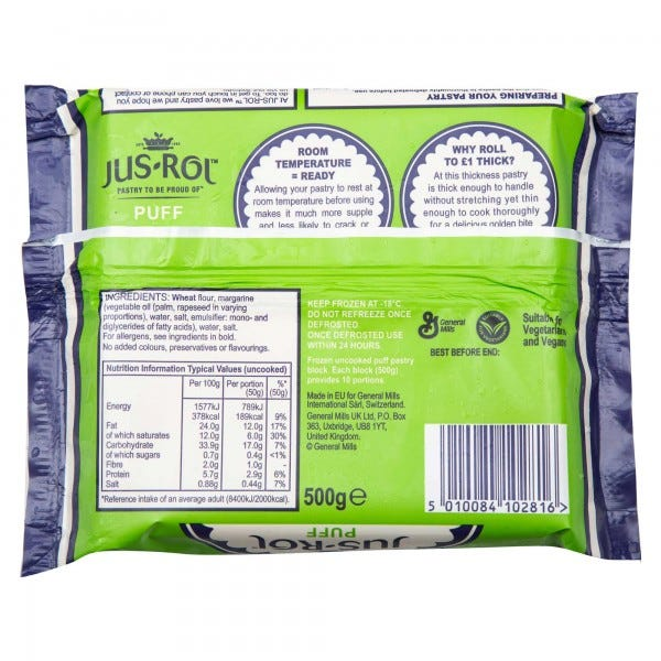 Jus-Rol Puff Pastry Frozen 500G