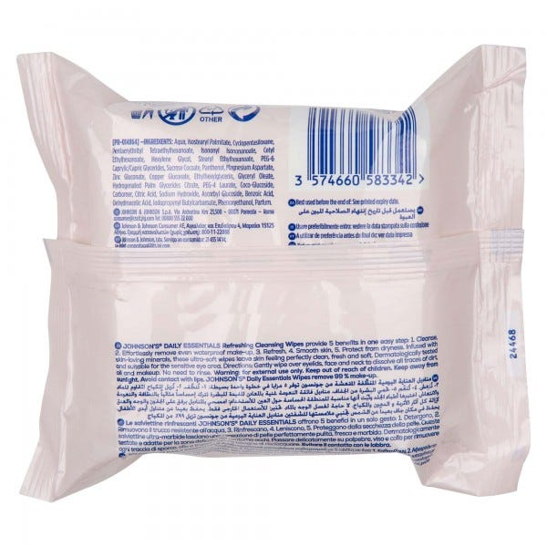 Johnson's Oil Balancing Wipes 25 per Pack